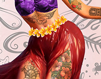 Metro&medio Designs - Tattoed hula dancer Pin-up