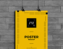 Free Hanging Over Wall Poster Mockup PSD