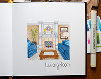 Home Interior Sketches #2 / Copic Markers