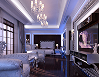 Glamour Bedroom interior in Luxury Neoclassical style.