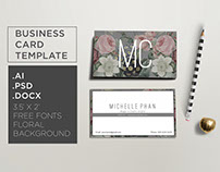 Floral , modern business card