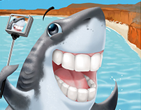 Shark Bay Banner Illustration