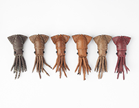 Leather Squid brooches