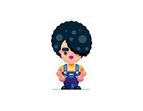 Cute Cartoon Flat Design Girl