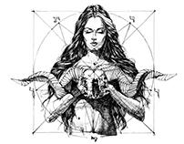Lady with Skull. INK ART. Yury Fadeev©