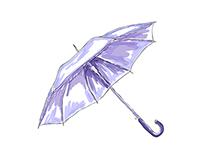 Watercolor vector umbrella