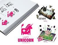 Lazy Unicorn Games - logo, web design