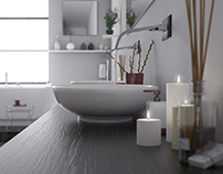 Interior bathroom realistic scene