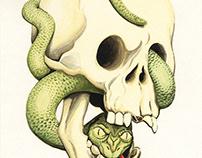 Watercolor Snake in a Skull