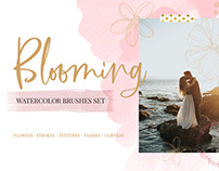 Blooming watercolor brushes set