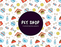 Pet Shop Linear Seamless Pattern