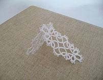 Handmade tatting lace earrings.