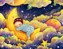 A baby sleeping in the moonlight