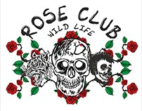 Rose and skull graphic design vector art