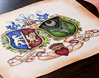 Conjugal Coat of Arms Painting