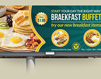 Breakfast Restaurant Billboard Template