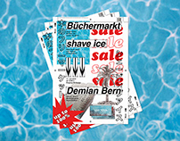 book sale and shave ice