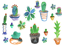 Watercolor Cacti Icons