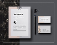 A4 paper overhead view mockup free psd