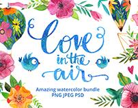 Love is in the air watercolor bundle