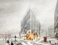 Snow scene of city