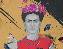 Frida kahlo (with process and Outline)