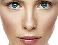 maquiagem e olho verde digital