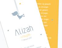 Geboortekaartje Alizah
