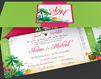 Wedding Hawaiian Boarding Pass Invitation Template