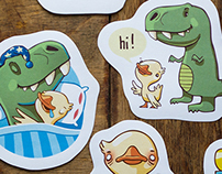 Stickers - duck & T-Rex, Donut and coffee