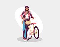 Girl with bike illustration