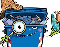 Cartoon recycling bin inspector