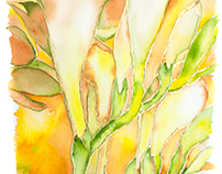 """Freesia"" Gold leaf and Watercolor"
