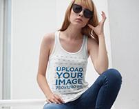 Girl Wearing a Bella Canvas Tank Top Mockup