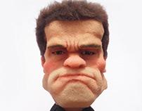 Sculpture of Arnold Cheeseburger in sponge foam