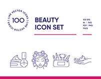Beauty & Cosmetics Line Icon Set