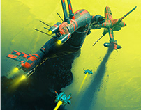 multiple spaceship illustrations