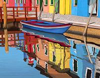 Blue Boat, Burano Italy