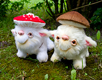 Magic Mushroom Spirits, OOAK art toys