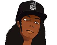 Black Skater Chick Illustration