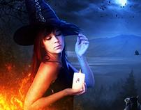 Fiery Halloween Witch