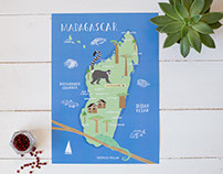 Madagascar illustrated map for Tropico Polar