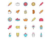 Korean Food Icons Set