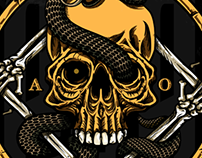 Skull and snake illustration
