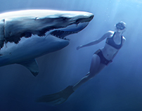 Diving with white shark