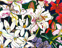 Lilies & Orchids Watercolour Illustration