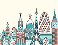 European famous cities' big set/Line art illustrations