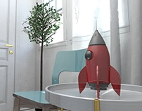 3D Rocket toy Photorealistic Renders
