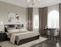 Дизайн интерьера спальни и кабинета в частном доме