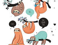 Cute sloths collection